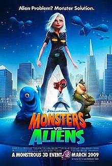 A movie poster for Monsters vs Aliens with computer generated woman and three creatures standing in front of the San Francisco skyline.