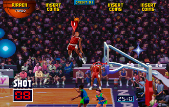 NBA Jam (1993 video game) - The game employed an exaggerated, over-the-top style, demonstrated by the player dunking from superhuman heights.