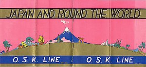 """Mitsui O.S.K. Lines - Steamship brochure """"Japan and Round the World, O.S.K. Line,"""" circa 1933."""