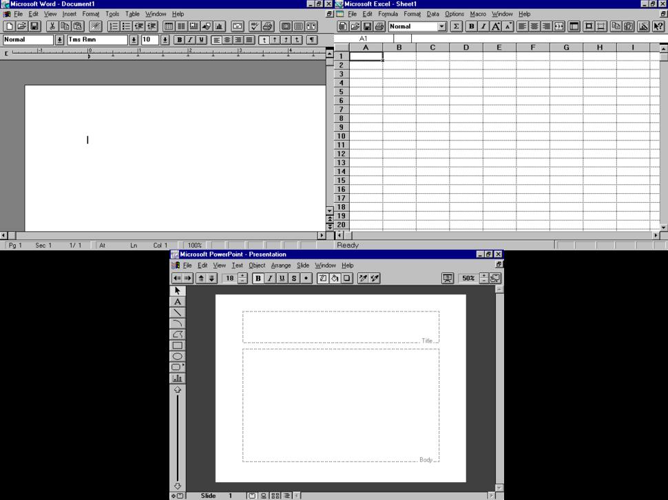 Microsoft Office 3.0 running on Windows NT 4.0