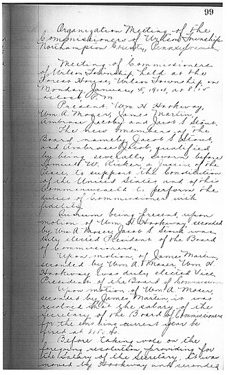 Wilson, Pennsylvania - Page 99 of Wilson Township Organizational Meeting, 1914.