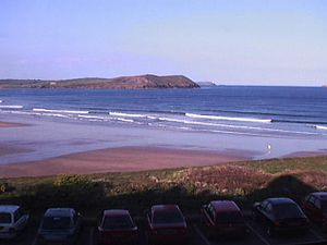 View of the beach from New Polzeath.