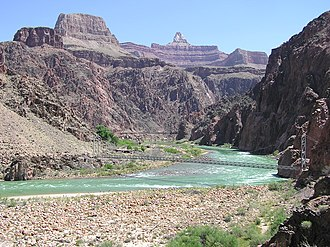 River Trail (Arizona) - Zoroaster Temple and suspension bridges from River Trail