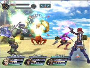 Rogue Galaxy - Battle screen from the North American version of Rogue Galaxy. The party's stats are on the bottom of the screen, showing information such as their hit points, ability points and action gauge. The status of the player character's primary and second weapon are indicated on the top left of the screen. The party's battle strategy is shown just to the right of this.
