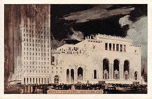 The Michelangelo - 1927 postcard showing how the Roxy Theatre was connected to the Manger Hotel.