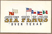 The original logo for Six Flags over Texas.