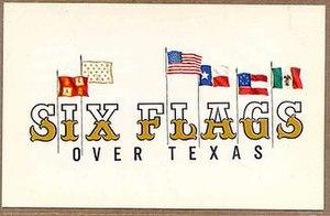 The original logo for Six Flags over Texas.