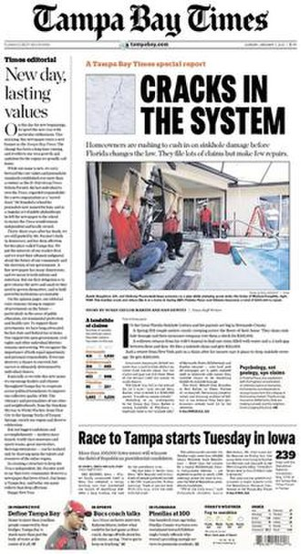 Tampa Bay Times - Image: St Pete Times 10 16 08 front pg