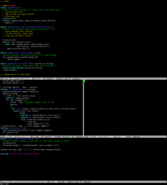Window (computing) - Example of windows on a text-only display. Each grey-bordered area is a separate window showing a different file.