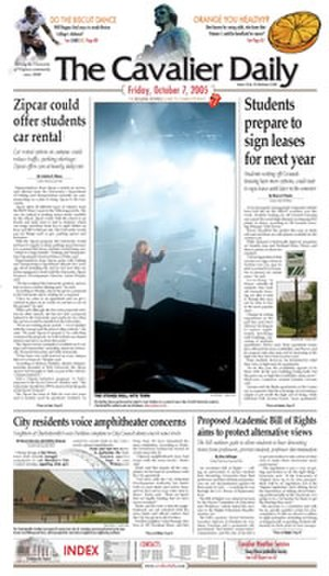 The Cavalier Daily - Image: The Cavalier Daily front page, 7 October 2005