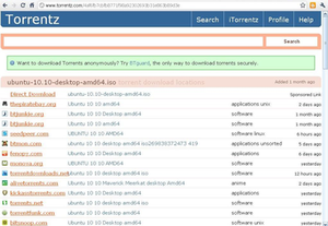 Torrentz - Image: Torrentz screenshot
