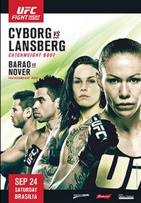 A poster or logo for UFC Fight Night: Cyborg vs. Lansberg.