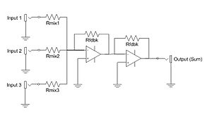 """Electronic mixer - A """"virtual ground"""" active additive mixer. The buffer amplifiers serve to reduce crosstalk and distortion."""