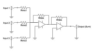 "Electronic mixer - A ""virtual ground"" active additive mixer. The buffer amplifiers serve to reduce crosstalk and distortion."