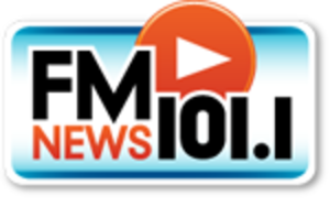 "WKQX (FM) - The ""FM News 101.1"" logo (2011-2012; a similar logo was used for the FM New branding before the format officially became news)"