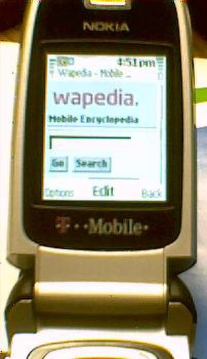 Wapedia - Photo of http://wapedia.mobi front page as displayed on a Nokia cellphone