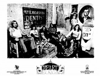 Heart (band) - White Heart/Heart promotional photo (1970); from left: Gary Ziegelman, Ron Rudge, Ken Hansen, Roger Fisher, Steve Fossen, James Cirrello