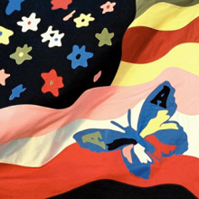 A psychedelic version of the United States flag with a butterfly superimposed atop