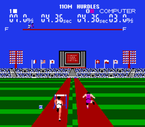 Stadium Events - A player competes against the computer in the 110M hurdles