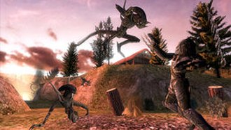 Aliens vs. Predator: Requiem (video game) - A Predator, on the right with claws extended, in battle against several Aliens