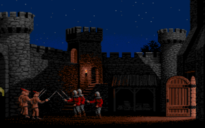 Defender of the Crown - Screenshot of a raid with graphics in the 1986 Amiga version.