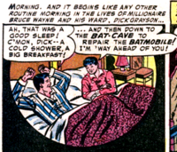 Bruce Wayne and Dick Grayson. Panel from Batman #84 (June, 1954), page 24.