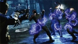 Batman: Arkham City - Batman uses a Remote Electrical Charge against TYGER personnel. Batman: Arkham City features an emphasis on the skillful use of gadgetry when facing armed enemies.
