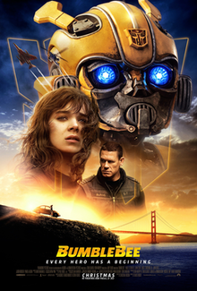 A yellow robot with glowing blue eyes, a teenage girl, and stern looking man, are superimposed over a sunset at the San Franciso, Golden Gate bridge.