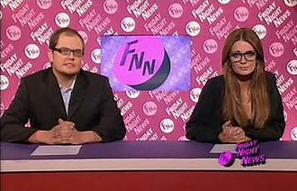 The Sunday Night Project - Alan Carr and Mischa Barton during the Friday Night News segment of the show.