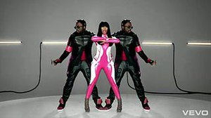 Check It Out (will.i.am and Nicki Minaj song) - Minaj and will.i.am dress in futuristic Korean culture attire in the video.