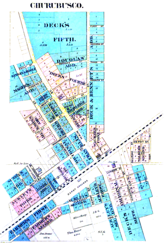 """Churubusco, Indiana - An 1889 plat map of Churubsuco showing the first two towns, """"Union"""" and """"Franklin."""""""