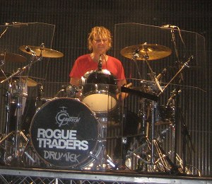 Rogue Traders - Cameron McGlinchey on drums for the Rogue Traders, during the Better in the Dark Tour, 2008.