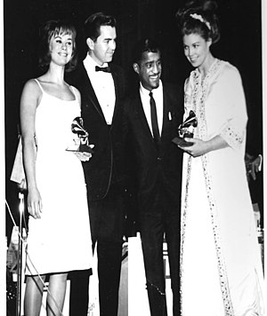 Creed Taylor - Taylor with Astrud Gilberto, Sammy Davis Jr., and Monica Getz at the 1964 Grammy Awards