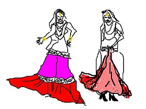 Farshi Pajama -  A rough illustration of a farshi pajama. One woman is wearing a farshi pajama while it is spread out; another wearing a farshi pajama is holding it up while walking.