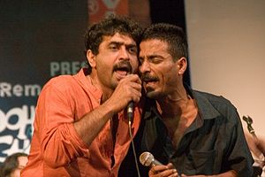 First Rock Concert – Remembering Mohiner Ghoraguli - Silajit Majumder (left) and Anindya performing Prithibi
