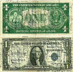 An American banknote (one dollar bill) that has several signatures on it.