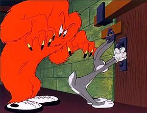 Gossamer and Bugs Bunny in Hair-Raising Hare.