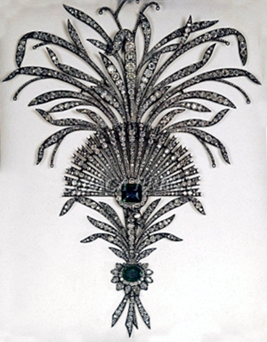 Iranian Crown Jewels -  An elaborate diamond and emerald Aigrette, set in silver.  Part of the Iranian Crown Jewels.