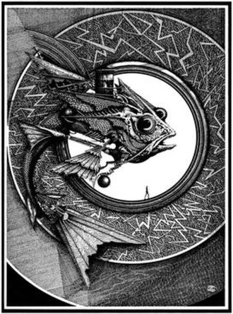 Ian Miller (illustrator) - An illustration from Miller's Hollywood Gothic series, combining forms derived from fish and mechanical elements.