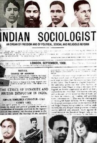 India House - Clockwise from top left: Dhingra, Aiyar, Savarkar, Bapat, Gonne, Acharya, Kanhere and Pillai. Centre: The Indian Sociologist, September 1908 issue.