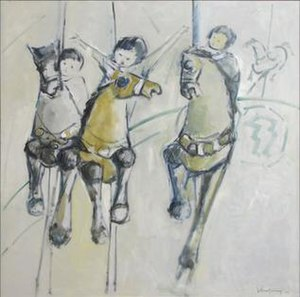 John Chin Young - Children on Carousel, oil on canvas painting by John Chin Young, 1975