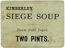 "Soup ration ticket from the Siege of Kimberley with the text ""Kimberley Siege Soup: Town Hall Depot: Two Pints"""