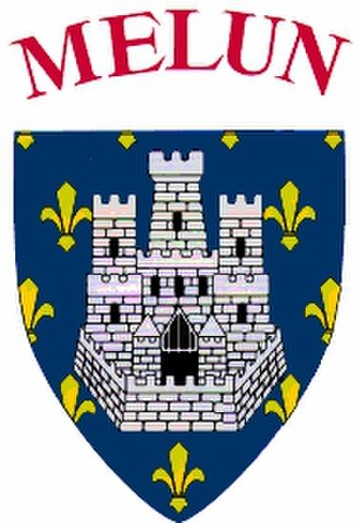 "Melun - Melun Shield dating from the 15th century – ""Melun (Seine-et-Marne): Azure on a semy-de-lys or a castle with three towers argent. Melun was one of the original strongholds of the royal domain. Motto: fida muris usque ad mures, recalling the siege of 1420 when inhabitants had to eat rats."" http://www.heraldica.org/topics/france/frcitdep.htm"