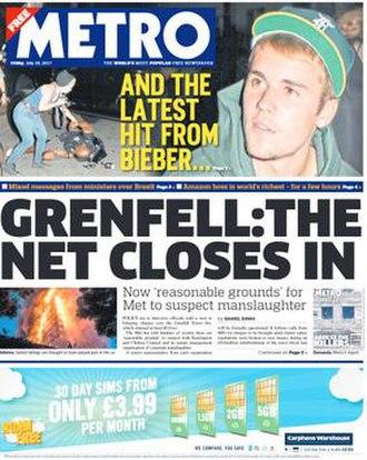Metro (British newspaper) - Image: Metro front page 1