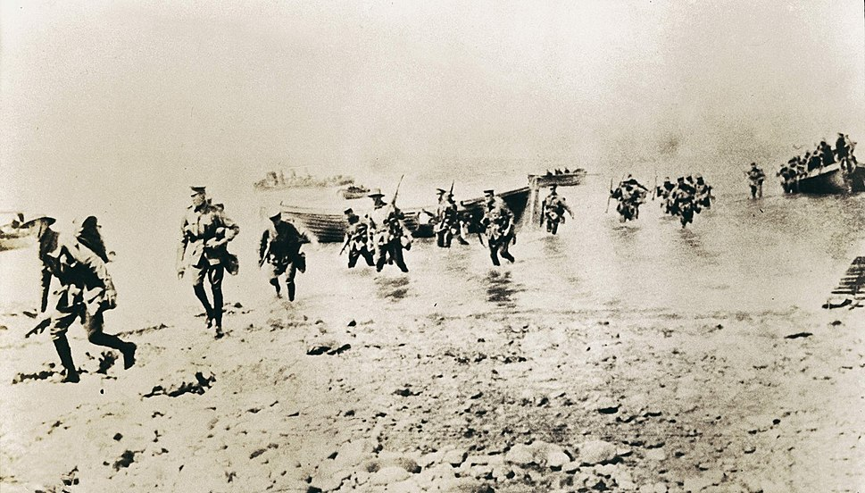 New Zealand troops first setting foot at Gallipoli taken by Joseph McBride