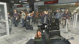 A screenshot taken from the level. The player is holding a gun and is aiming it at a large group of civilians. Bullets can be seen coming from other gunmen offscreen.