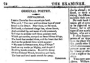 Ozymandias - Original publication, The Examiner, London, Sunday, January 11, 1818, No. 524, page 24.