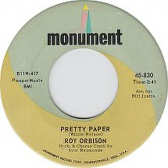 Pretty Paper (song) - Image: Roy Orbison Pretty Paper