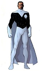 Dark-skinned superhero, dressed in back and white with a white cape