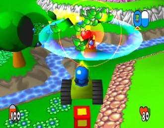Team Buddies - The player, as a blue Buddy, has shot a tree using a tank, to release a health pick-up.